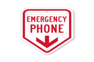 How does the emergency phone work for community management?